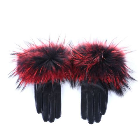 Anise Red & Black  Fur Leather Gloves